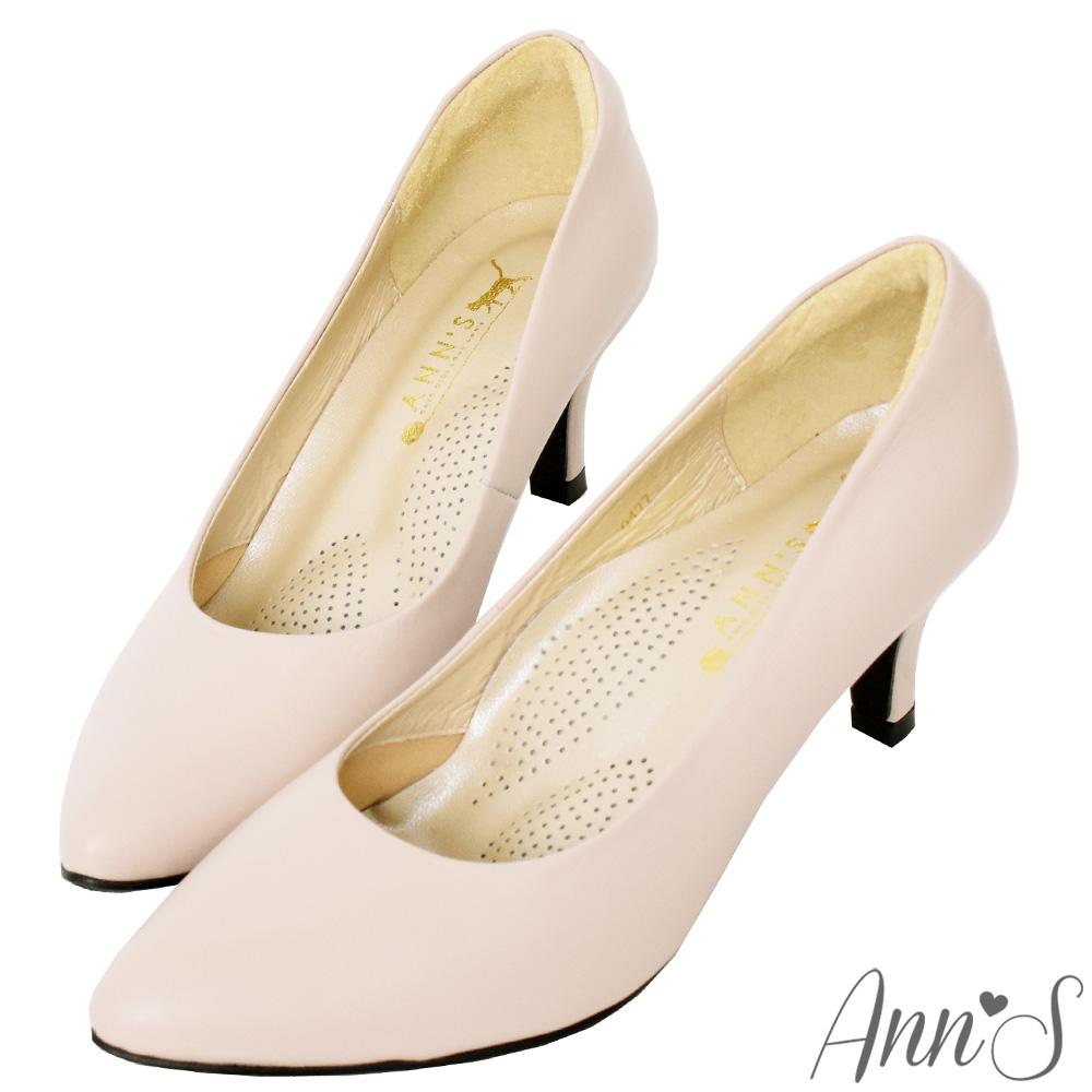 Ann'S完美比例六公分尖頭全真皮包鞋-杏