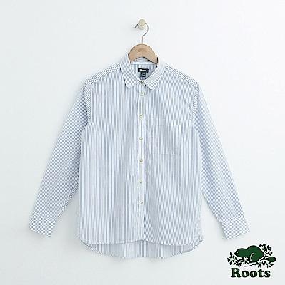 女裝-Roots長袖條紋襯衫-藍