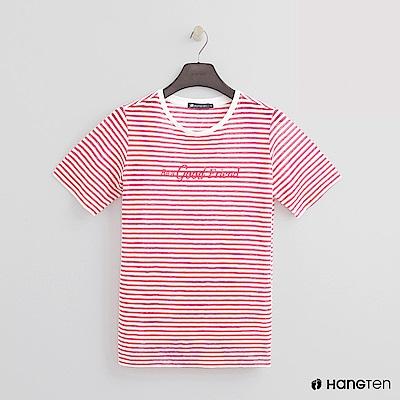 Hang Ten - 女裝 - 糖果配色橫條紋短T - 粉