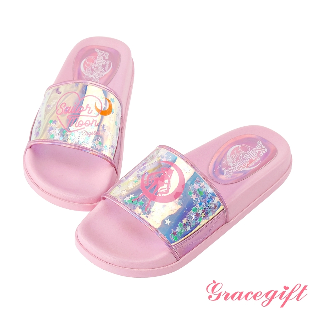 Grace gift-美少女戰士鐳射寬版休閒拖鞋 粉
