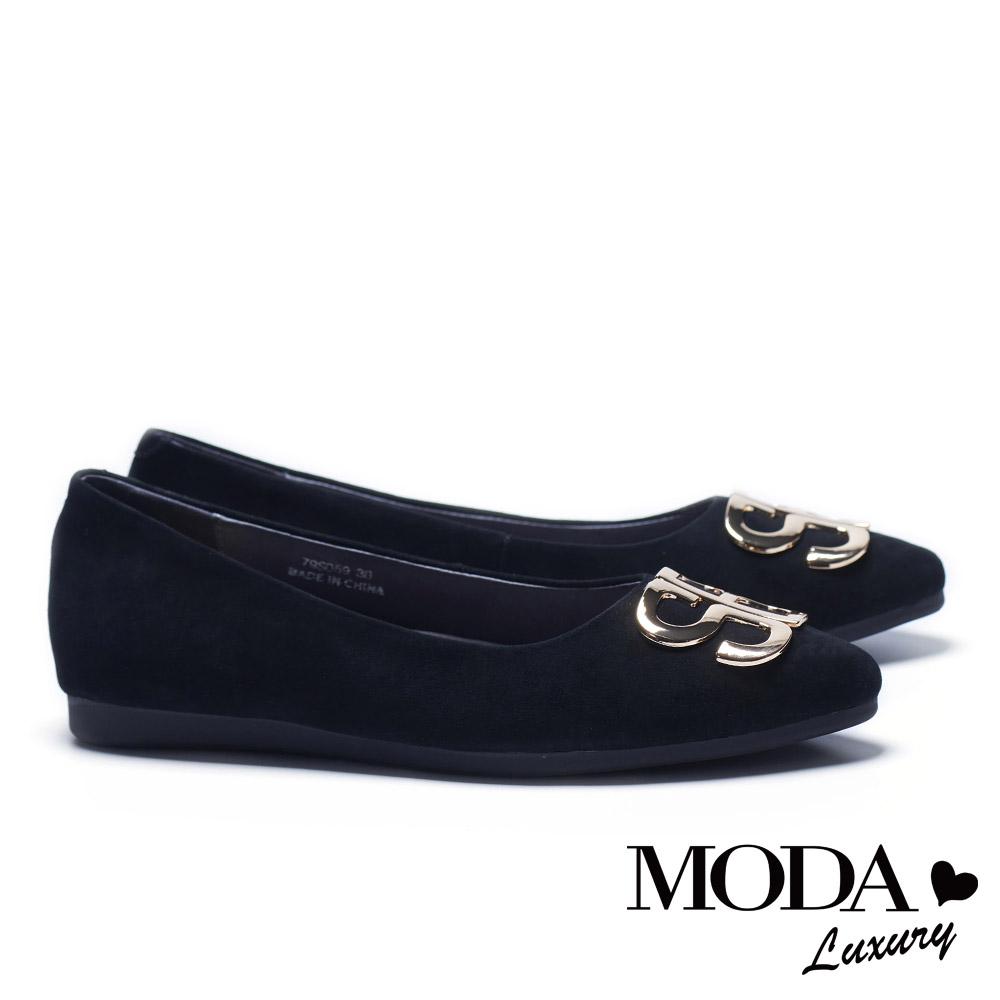 低跟鞋 MODA Luxury 摩登SB字母飾釦麂皮尖頭低跟鞋-黑