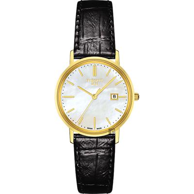 TISSOT天梭 18K金 Goldrun 石英錶-珍珠貝x黑/29mm