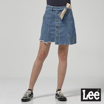 Lee 牛仔短裙 綁帶排扣短裙 女 中淺藍
