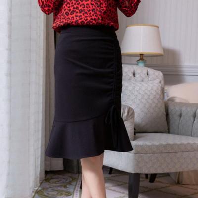 設計所在Lady-前片側邊抽皺素色裙子(M-2XL可選)