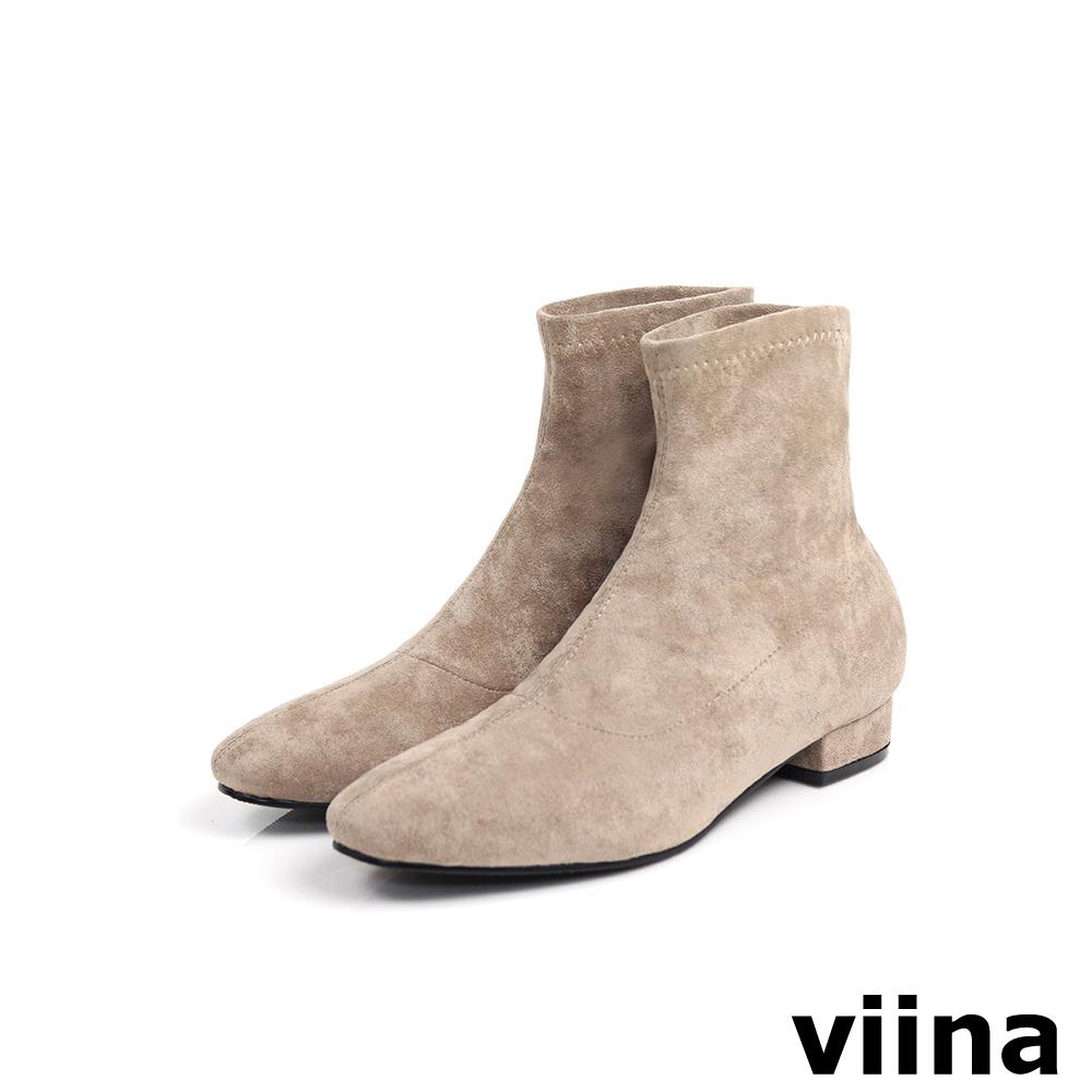 viina Basic 彈力絨毛布短靴 - 可可