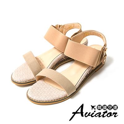 Aviator*韓國空運。麂皮撞色一字寬帶編織楔型涼鞋-駝