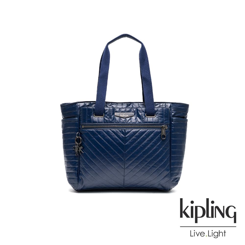Kipling 神祕氣息藍紫色壓線雙側袋側背包-ORINTHIA
