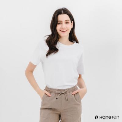 Hang Ten-女裝-環保纖維厚磅胸前刺繡短袖T恤-白色