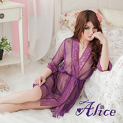 Alice情趣紫色開襟腰帶誘惑透膚連衣罩衫套裝(AK085)