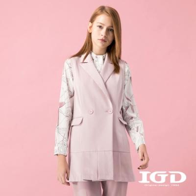 【IGD 英格麗】雙排釦百折剪接西裝背心外套