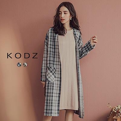 東京著衣-KODZ 韓國姊姊格紋毛呢袖反褶罩衫外套-S.M.L(共二色)
