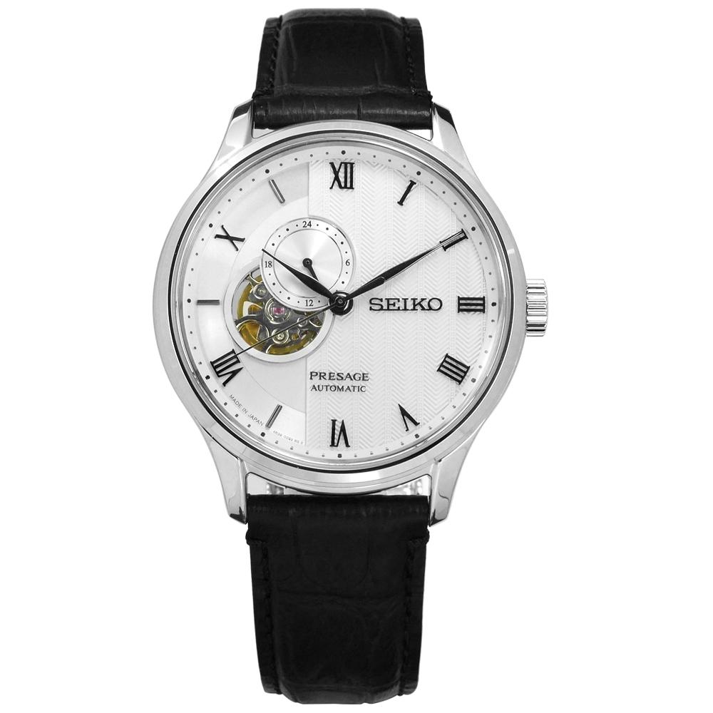 SEIKO 精工 Presage 藍寶石水晶 自動上鍊 牛皮機械錶-銀白x黑/41mm
