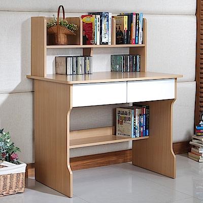[時時樂限定] TZUMii經典3尺雙抽層架電腦書桌90*60*112.5cm