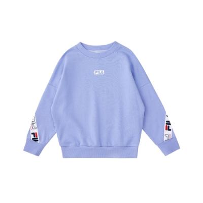 FILA KIDS #尬頑街潮 女童長袖圓領T恤-粉紫 5TEU-8406-P