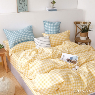 DUYAN竹漾-100%精梳純棉-雙人四件式舖棉兩用被床包組-鹹檸檬奶油 台灣製