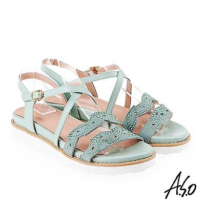 A.S.O 炫麗魅惑 亮麗璀璨平底涼拖鞋 正綠