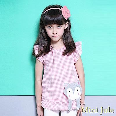 Mini Jule 上衣 拼布狐狸造型格紋荷葉袖上衣(粉)
