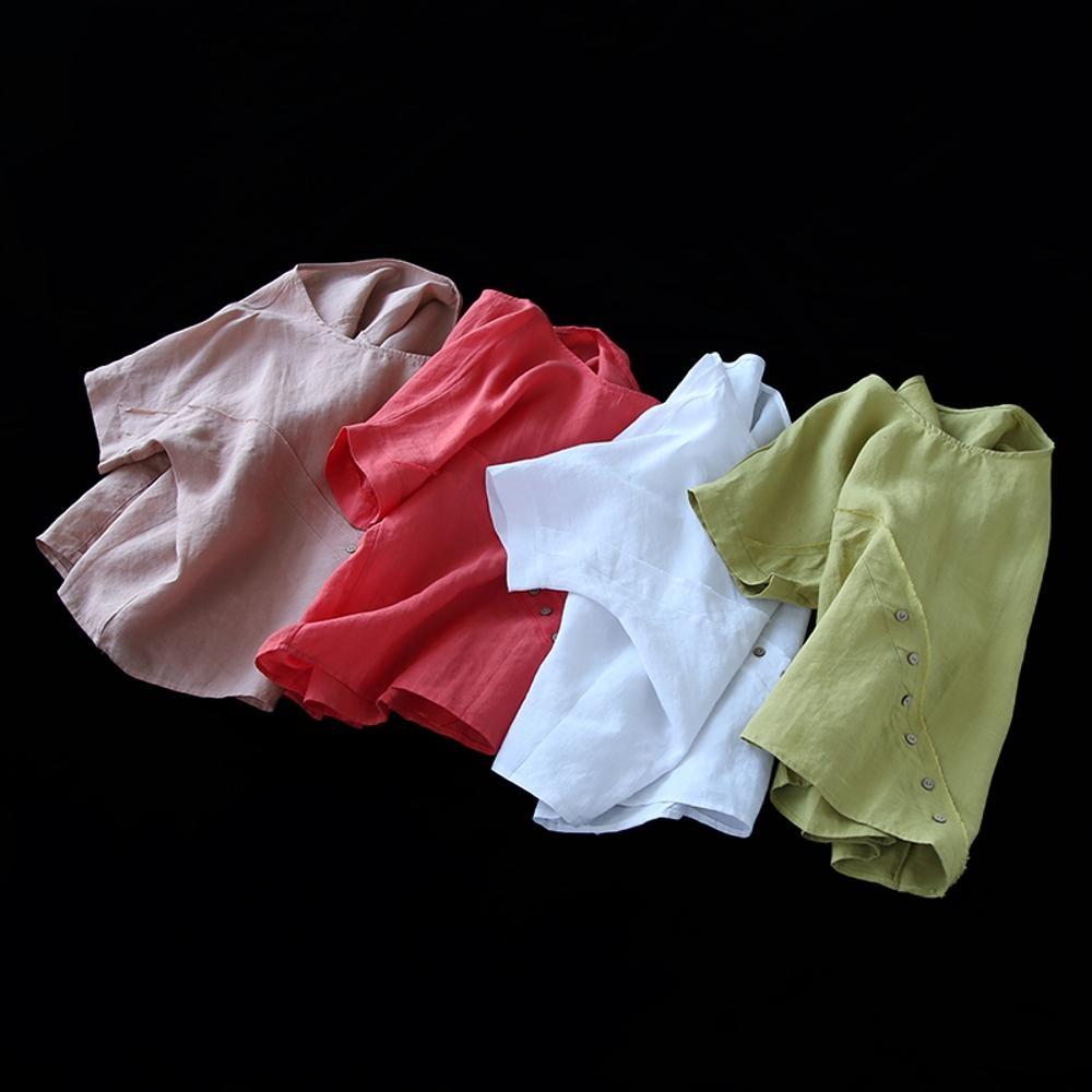 寬鬆斜扣苧麻短袖t恤棉麻罩衫上衣-設計所在