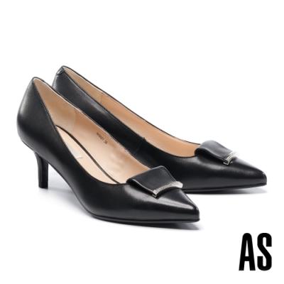 高跟鞋 AS 反折金屬鑽釦羊皮尖頭高跟鞋-黑