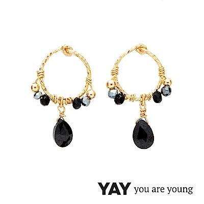 YAY You Are Young Black Swan 黑色寶石耳環 金色迷你圓耳環