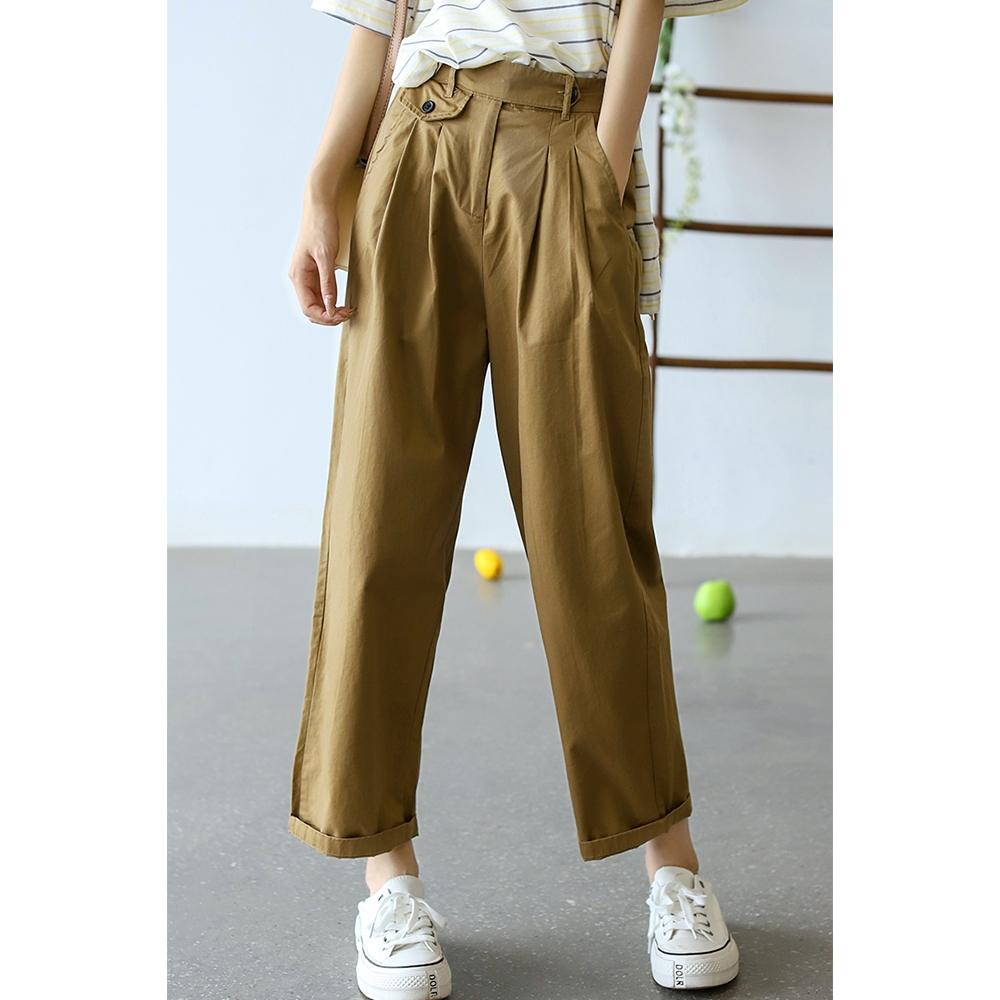 高腰垂感直筒褲寬鬆顯瘦百搭哈倫褲子-設計所在 (土黃色)