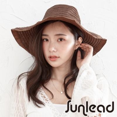Sunlead 防曬寬緣時尚圓頂遮陽帽/草帽 (深棕色)