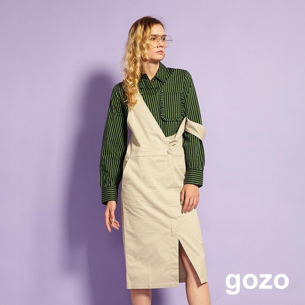 gozo 中性前開岔鈕扣吊帶裙(二色) product image 1