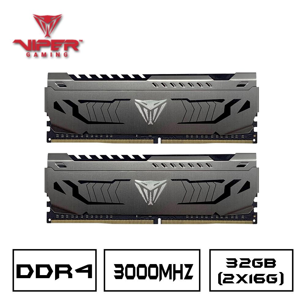 VIPER美商博帝 STEEL DDR4 3000 32GB(2x16G)桌上型記憶體