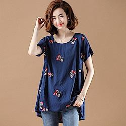 休閒寬鬆刺繡棉麻短袖T恤XL-5XL(共兩色)-KVOLL