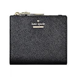 Kate Spade經典黑桃金字LOGO防刮牛皮6卡扣式短夾(黑)
