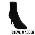 Steve Madden-CLAIRE 極致美腿襪針織襪套尖頭短靴-特殊紋黑色
