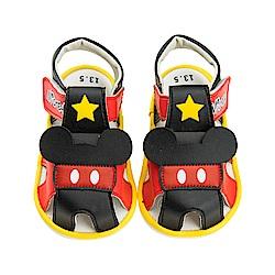 迪士尼童鞋 米奇 星星寶寶嗶嗶涼鞋-黑紅