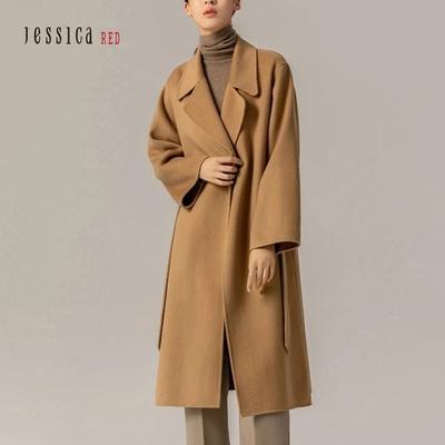 JESSICA RED - 氣質翻領綁帶長羊毛大衣外套(駝色)