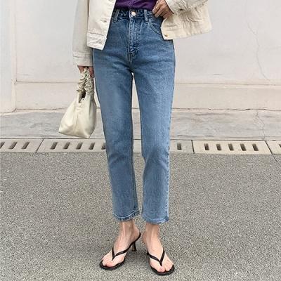THG 韓版復古高腰修身直筒九分牛仔褲- 藍色