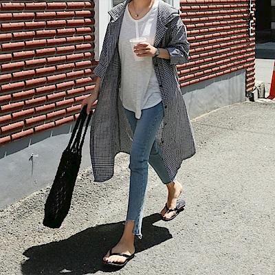 La Belleza黑白格紋全開釦附綁帶連帽開叉襯衫洋裝外套