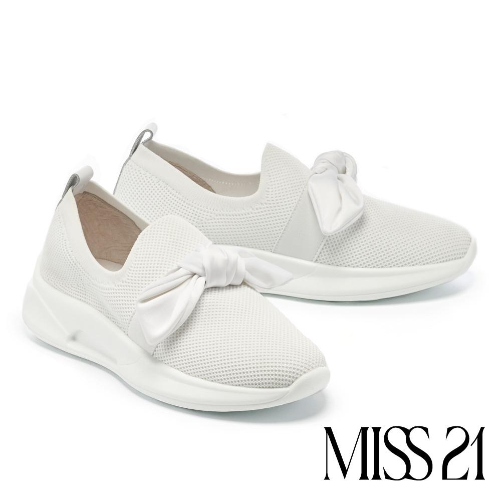 休閒鞋 MISS 21 率性小時髦扭結彈力飛織厚底休閒鞋-白