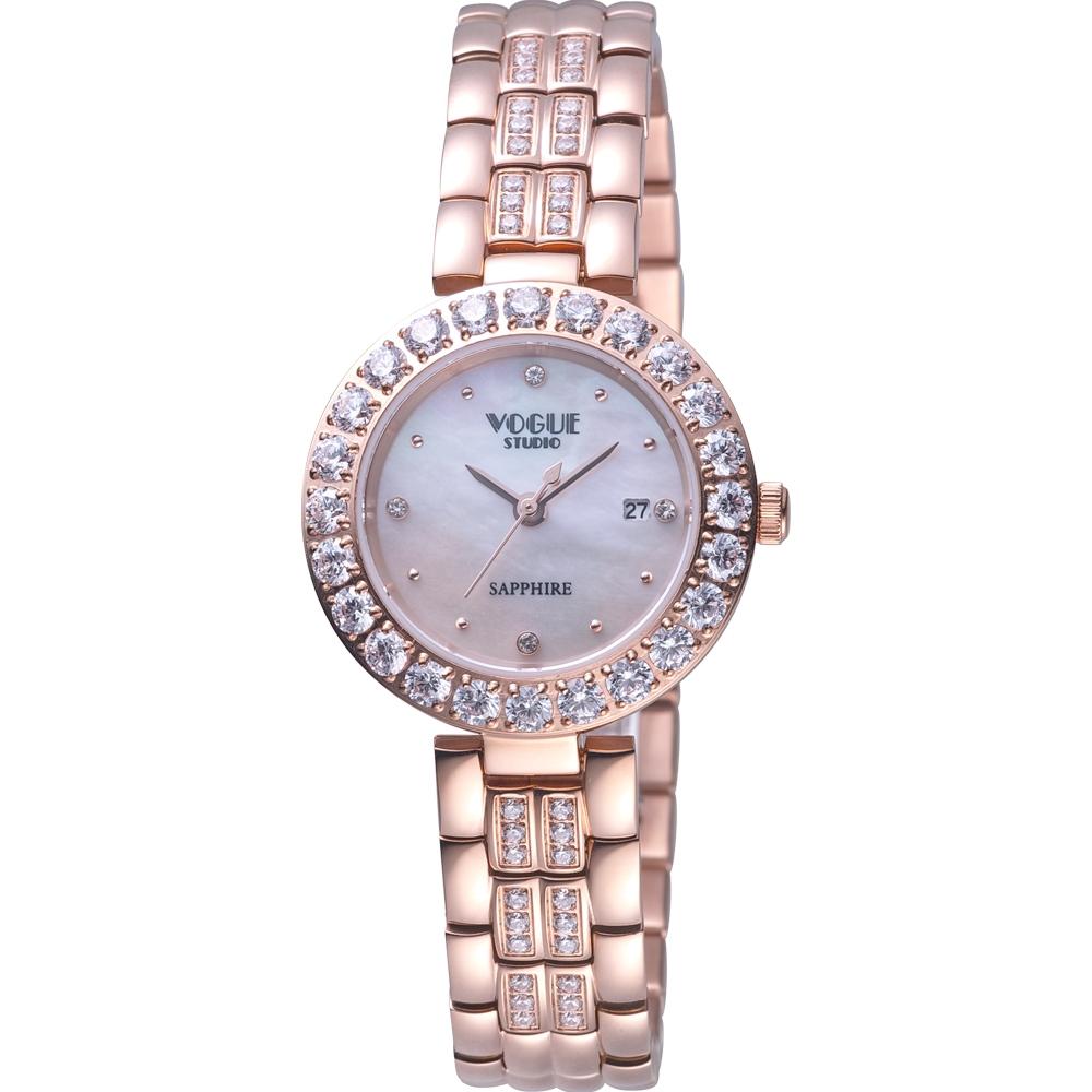 VOGUE 璀璨晶鑽時尚腕錶 VG2104G1P2DD/粉-29mm