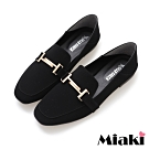 Miaki-樂福鞋素面方頭低跟通勤鞋-黑