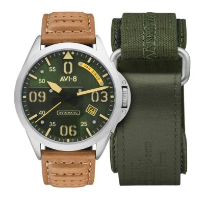 AVI-8 P-51 MUSTANG 軍事飛行機械錶-綠x棕色/43mm
