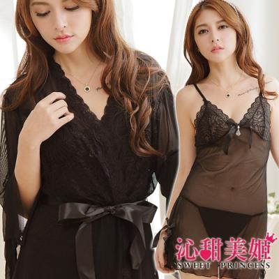 罩衫三件式 奢華網紗睡衣裙組 細肩帶深V水鑽吊墜 沁甜美姬(黑)