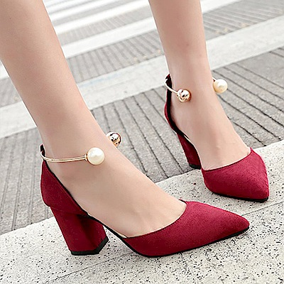 KEITH-WILL時尚鞋館 女人最大微醺傾心粗跟鞋-酒紅色