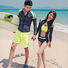 AH dream夢想女孩 兩件式 男款 螢光黃衝浪衣泳裝CR353-1