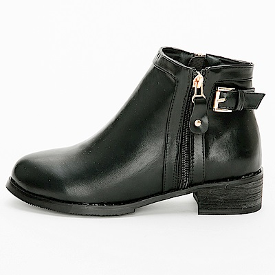 River&Moon大尺碼-方金扣側拉鍊圓頭平底短靴-黑