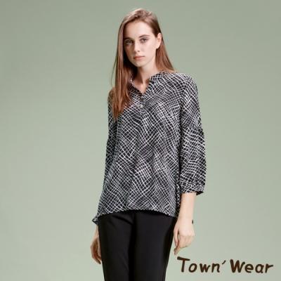 【TOWNWEAR棠葳】幾何線條雪紡長袖開襟衫