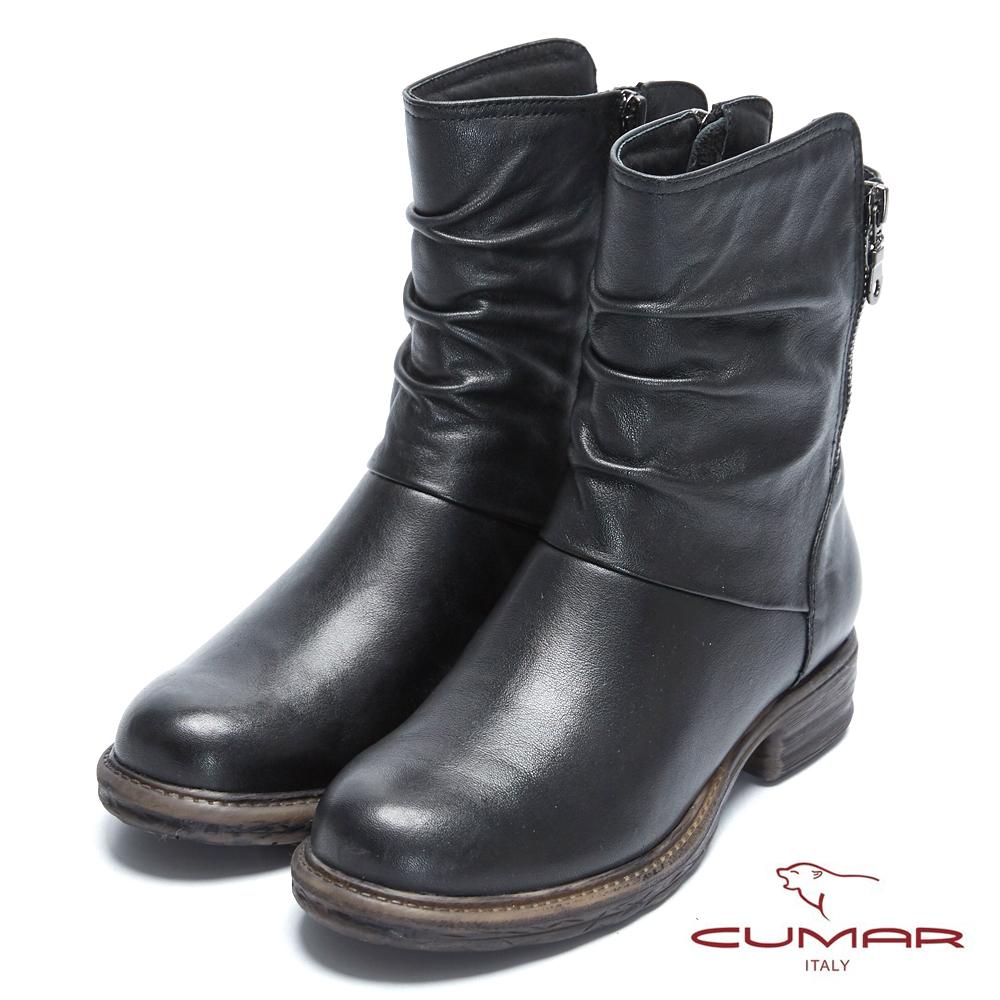【CUMAR】率性柔美-中性風自然抓皺拉鍊裝飾短靴
