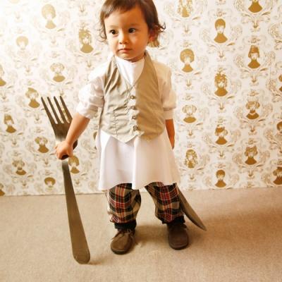 MARLMARL兒童用餐圍裙 男孩/淺灰(KIDS 100-110cm)