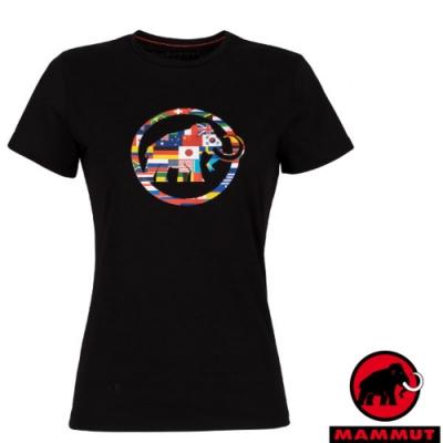 長毛象 女新款 世界T Nations 吸濕快乾彈性圓領短袖T恤_黑