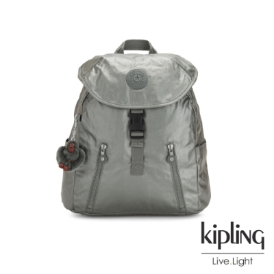 Kipling 個性金屬銀灰色前扣翻蓋後背包-ZAKARIA