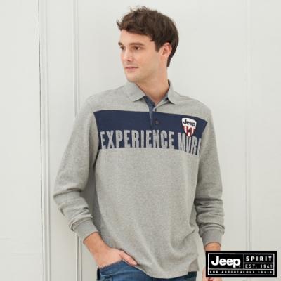 Jeep 男裝 率性拼接設計長袖POLO衫-灰