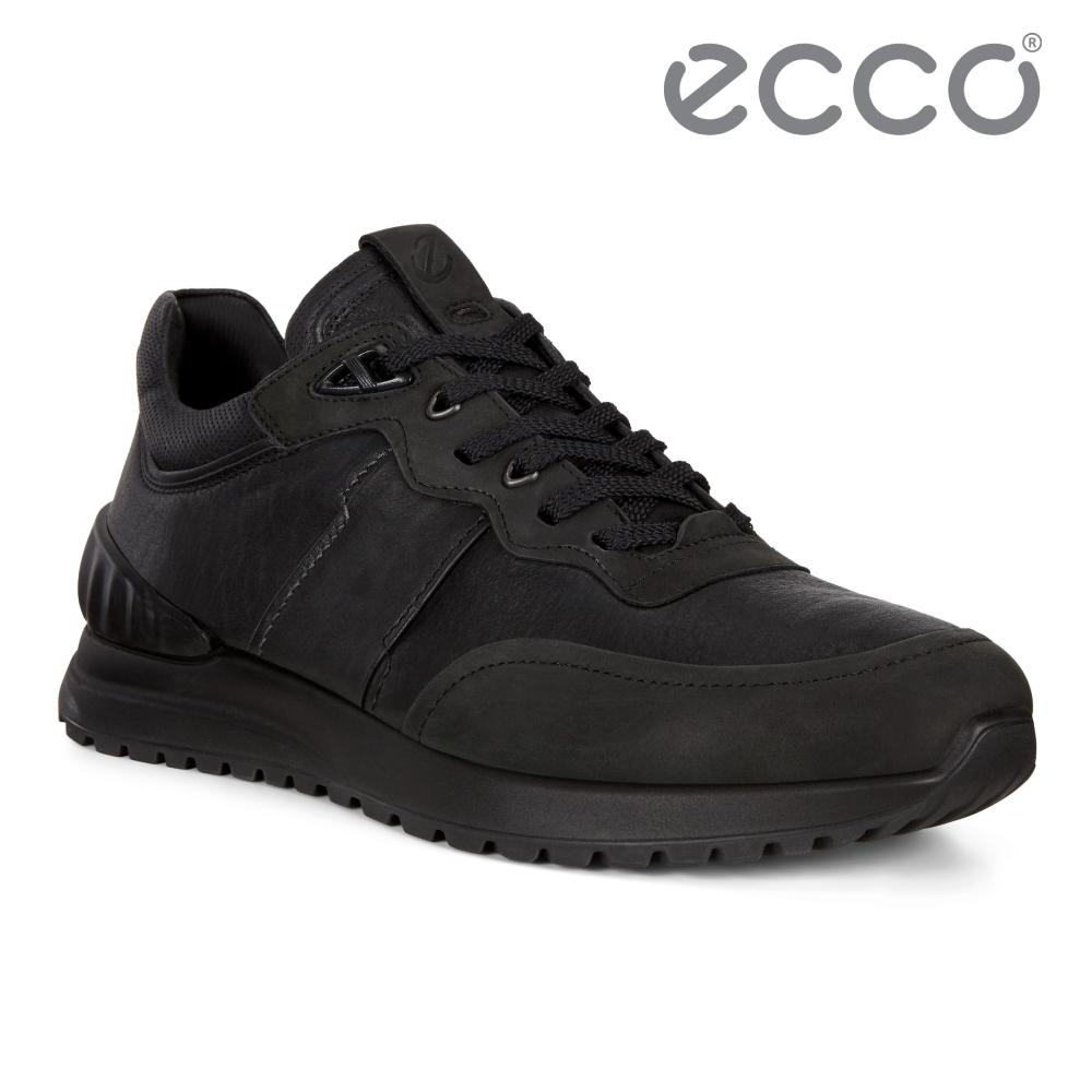 ECCO ASTIR 雅躍型男拼接皮革運動休閒鞋 男鞋-黑色
